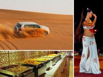 4WDで砂丘を疾走!日本人ガイドと行くデザートサファリとアラブ風ビュッフェディナー ベリーダンスショー鑑賞付き