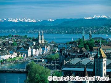 チューリッヒ市内観光とチューリッヒ湖、アルプスの眺望